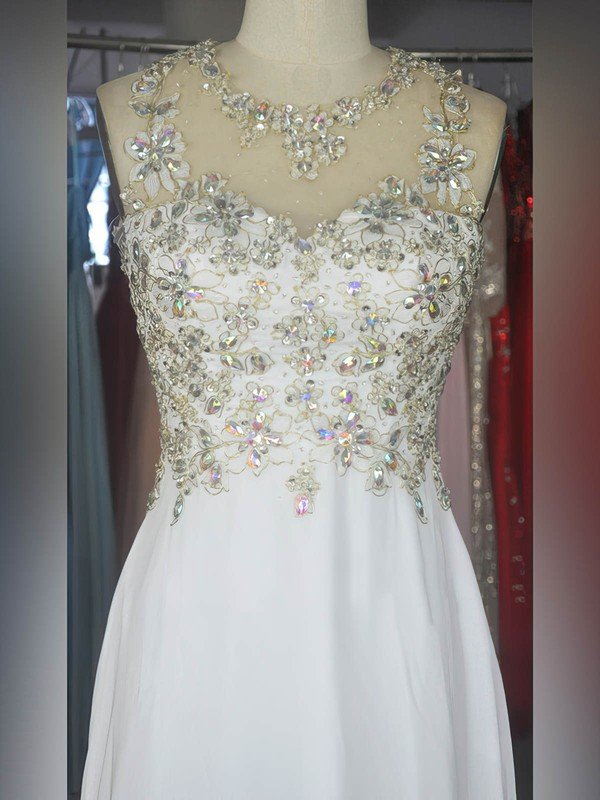 A-line Scoop Neck Floor-length Chiffon Prom Dresses with Appliques Lace Beading #Favs020104196