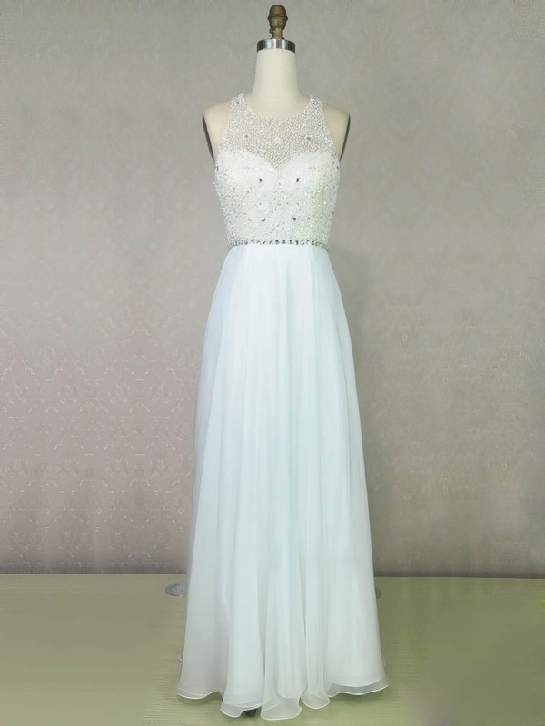 A-line Scoop Neck Chiffon Floor-length Beading Prom Dresses #Favs020104205