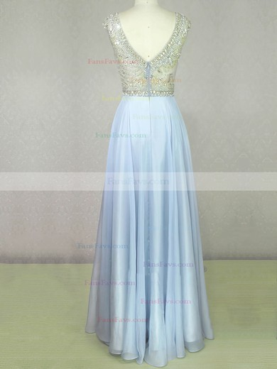 A-line Scoop Neck Floor-length Chiffon Prom Dresses with Beading Sequins #Favs020104210