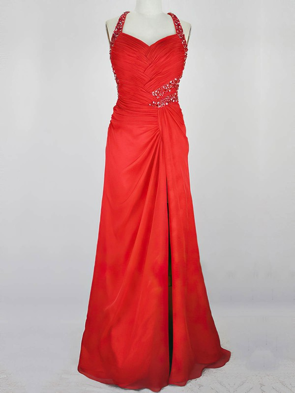 A-line V-neck Watteau Train Chiffon Prom Dresses with Beading Ruffle #Favs020104211