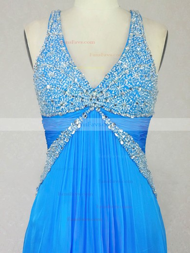 A-line V-neck Floor-length Chiffon Prom Dresses with Beading Ruffle #Favs020104215