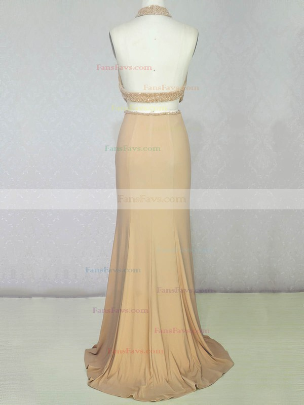 Trumpet/Mermaid Halter Sweep Train Chiffon Prom Dresses with Pearl Detailing #Favs020104216