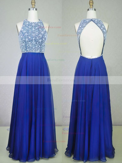 A-line Scoop Neck Floor-length Chiffon Prom Dresses with Sequins Beading #Favs020104217