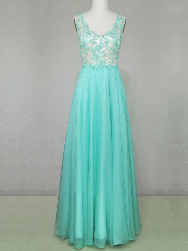 A-line V-neck Floor-length Chiffon Prom Dresses with Appliques Lace Beading #Favs020104223
