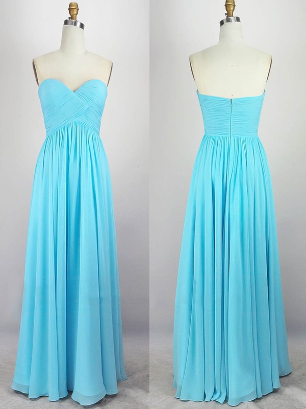 Empire Sweetheart Chiffon Floor-length Pleats Prom Dresses #Favs020104308