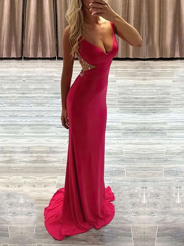 Sheath/Column V-neck Sweep Train Chiffon Tulle Prom Dresses with Beading #Favs020104368