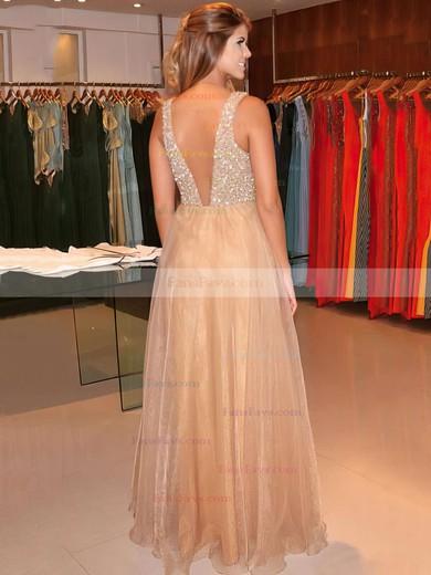 Princess V-neck Floor-length Organza Prom Dresses #Favs020104393