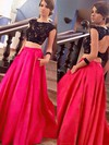 Ball Gown Scoop Neck Sweep Train Satin Tulle Prom Dresses with Appliques Lace Beading #Favs020104397