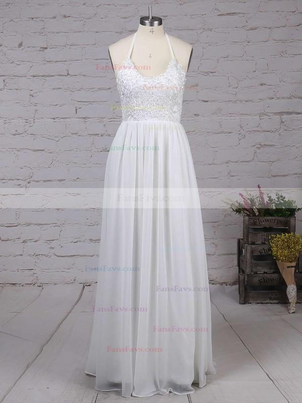 A-line V-neck Chiffon Floor-length Lace Prom Dresses #Favs020104412