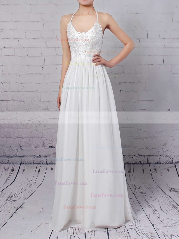 A-line V-neck Floor-length Chiffon Prom Dresses with Appliques Lace #Favs020104412