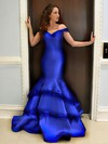 Trumpet/Mermaid Off-the-shoulder Satin Floor-length Tiered Prom Dresses #Favs020104417