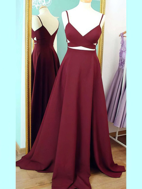 A-line V-neck Silk-like Satin Sweep Train Prom Dresses #Favs020102743