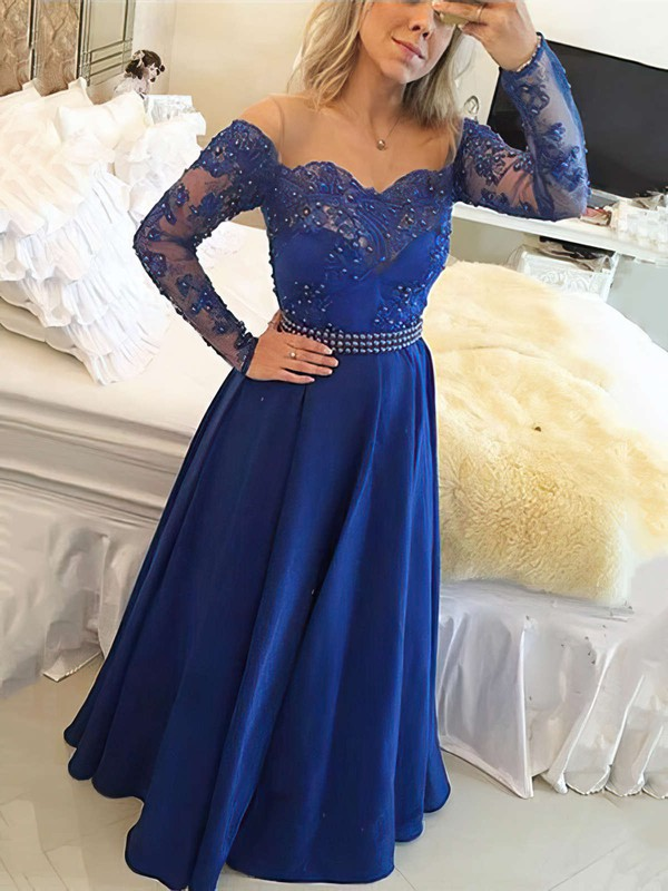 A-line Scoop Neck Floor-length Chiffon Prom Dresses with Appliques Lace Beading #Favs020104440