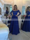 A-line Scoop Neck Chiffon Floor-length Beading Prom Dresses #Favs020104440