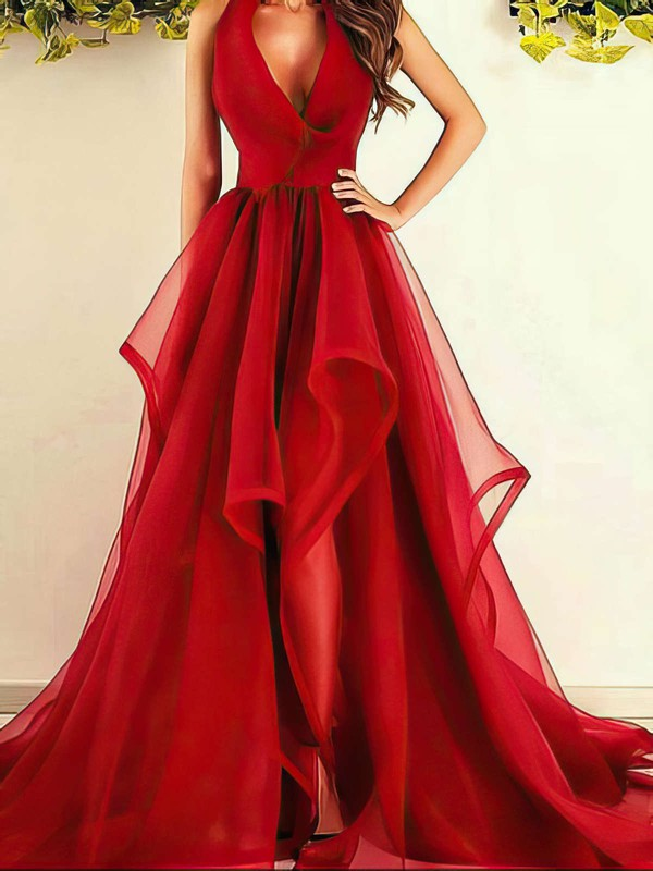 Princess V-neck Organza Sweep Train Ruffles Prom Dresses #Favs020104480