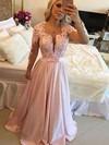 A-line Scoop Neck Satin Sweep Train Appliques Lace Prom Dresses #Favs020102805