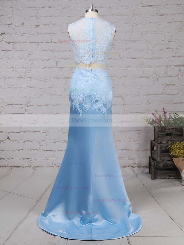 Trumpet/Mermaid Scoop Neck Satin Tulle Sweep Train Appliques Lace Prom Dresses #Favs020104536