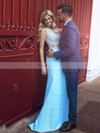Trumpet/Mermaid Scoop Neck Sweep Train Satin Tulle Prom Dresses with Appliques Lace #Favs020104536