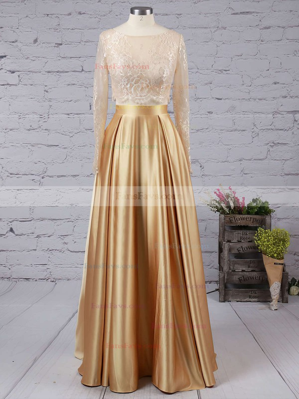 A-line Scoop Neck Lace Satin Floor-length Prom Dresses #Favs020104577