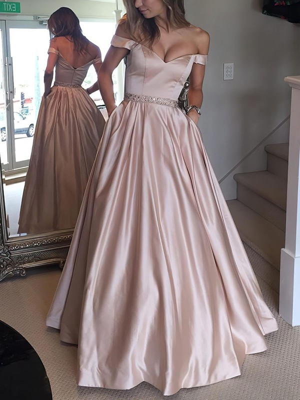 ba8af7c7043 Ball Gown Off-the-shoulder Floor-length Satin Prom Dresses with Beading