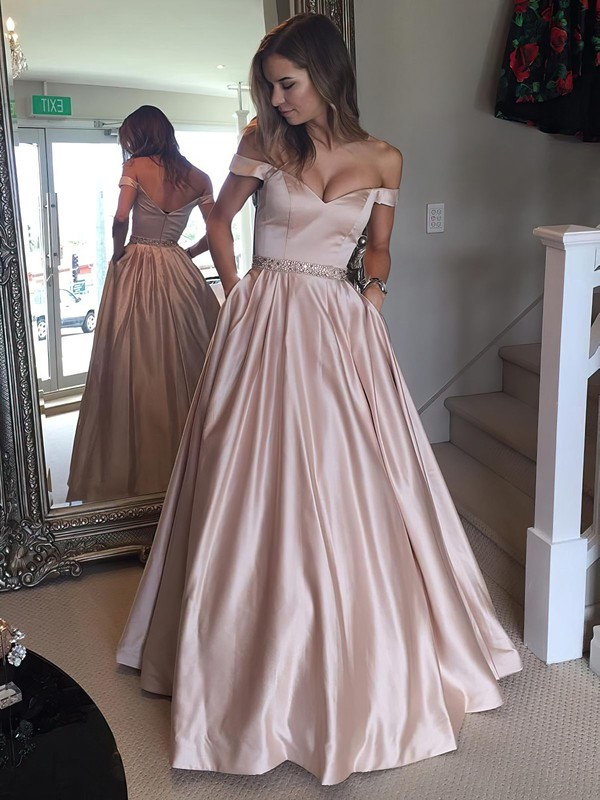 e1f797e5adf Ball Gown Off-the-shoulder Floor-length Satin Prom Dresses with Beading