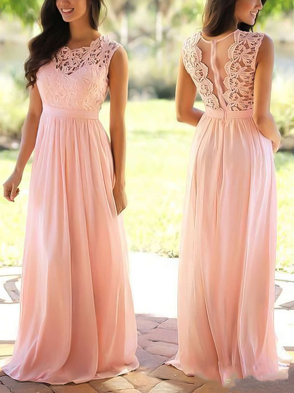 A-line Scoop Neck Lace Chiffon Floor-length Sashes / Ribbons Prom Dresses #Favs020104579