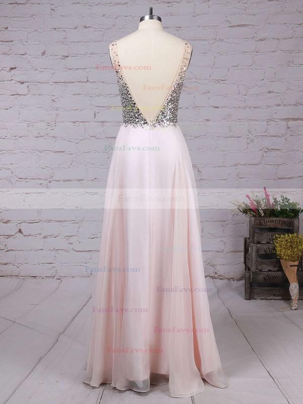 A-line V-neck Chiffon Floor-length Beading Prom Dresses #Favs020104583