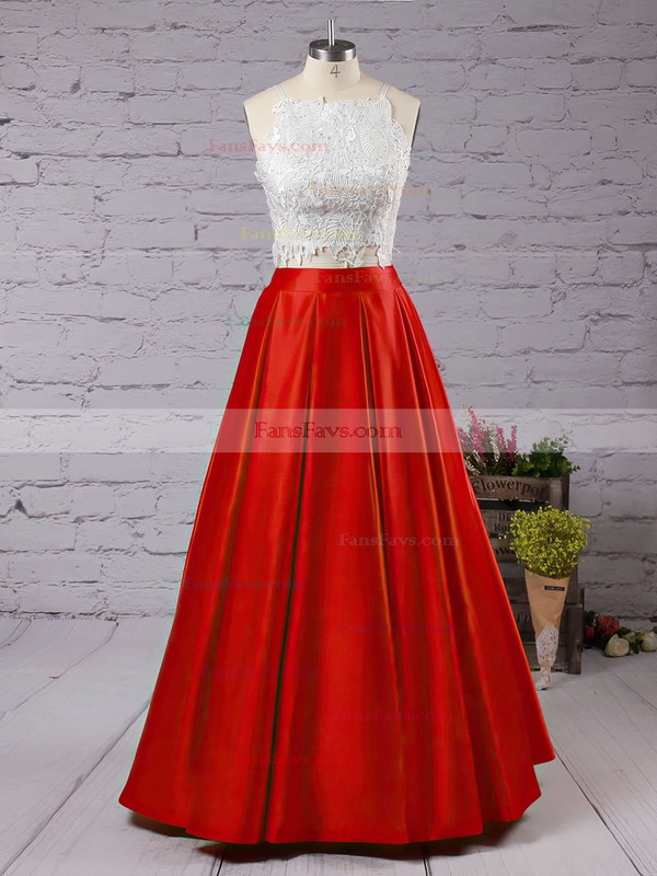 Ball Gown Square Neckline Floor-length Satin Prom Dresses with Appliques Lace #Favs020104587