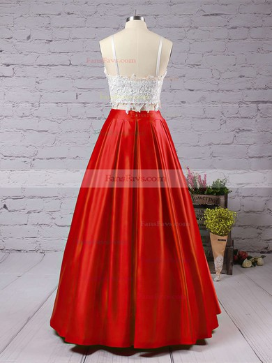Ball Gown Square Neckline Satin Floor-length Appliques Lace Prom Dresses #Favs020104587