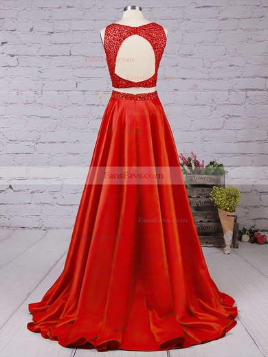 A-line Scoop Neck Floor-length Satin Prom Dresses with Beading #Favs020104590
