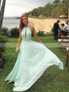 A-line Halter Chiffon Floor-length Prom Dresses #Favs020104602
