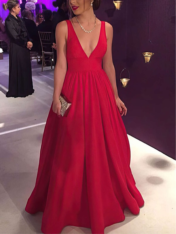78f64d2d340e Ball Gown V-neck Floor-length Satin Prom Dresses with Ruffle #Favs020104603
