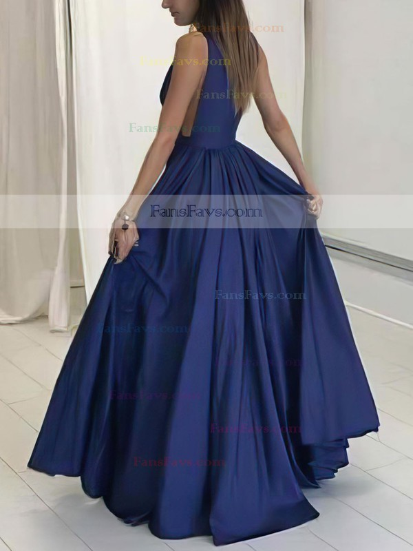 A-line V-neck Floor-length Satin Prom Dresses with Ruffle #Favs020104605