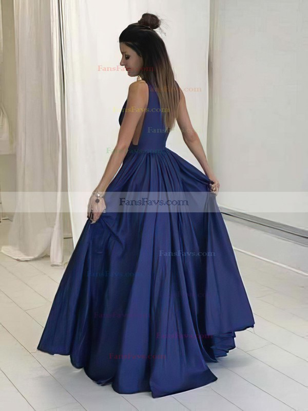 A-line V-neck Satin Floor-length Ruffles Prom Dresses #Favs020104605