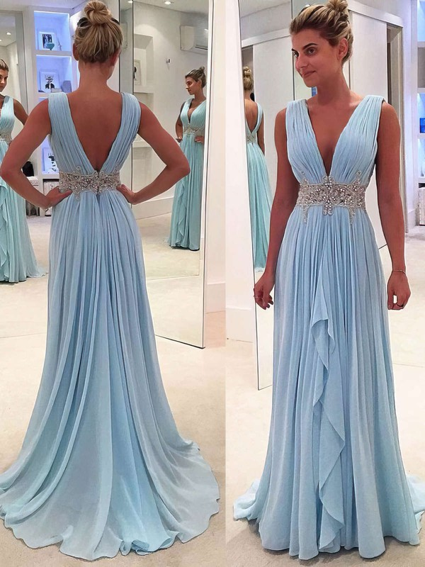 33e60b72944 A-line V-neck Sweep Train Chiffon Prom Dresses with Beading Ruffle   Favs020104606