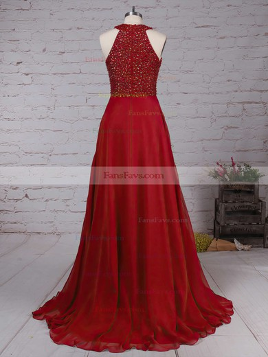 A-line Scoop Neck Chiffon Floor-length Beading Prom Dresses #Favs020104608