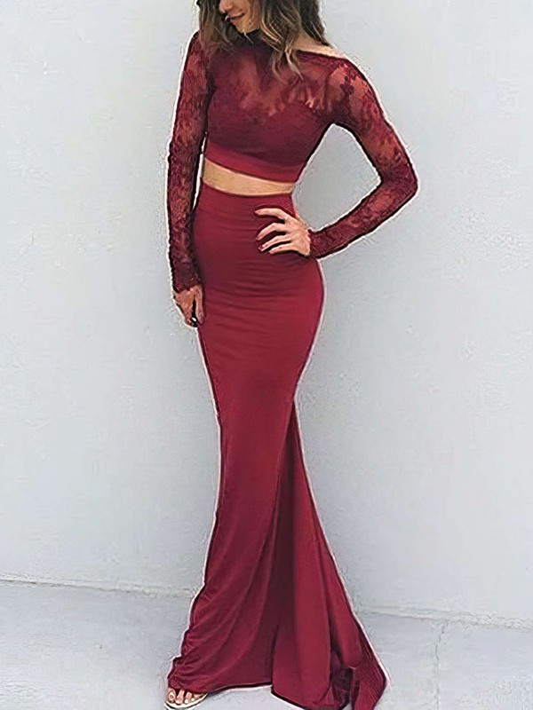 Trumpet/Mermaid Scoop Neck Sweep Train Jersey Prom Dresses with Lace #Favs020103323