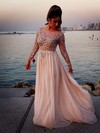 A-line Scoop Neck Sweep Train Chiffon Tulle Prom Dresses with Beading Sequins #Favs02016063