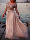 A-line Scoop Neck Tulle Chiffon Sweep Train Beading Prom Dresses #Favs02016063