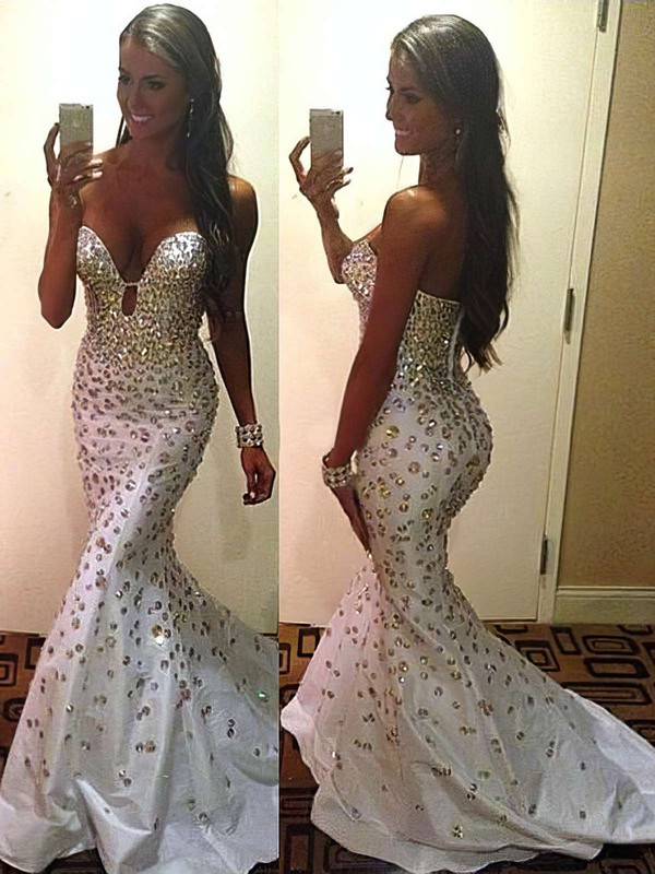 Trumpet/Mermaid Sweetheart Taffeta Sweep Train Beading Prom Dresses #Favs02016139