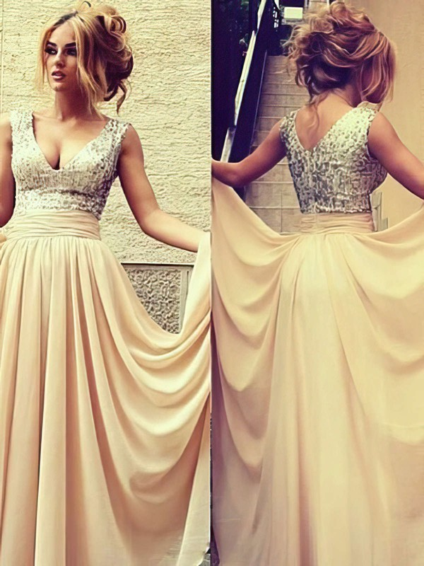A-line V-neck Floor-length Chiffon Sequined Prom Dresses with Pleats #Favs02016329