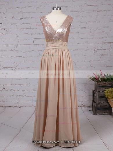 A-line V-neck Chiffon Sequined Floor-length Prom Dresses #Favs02016329