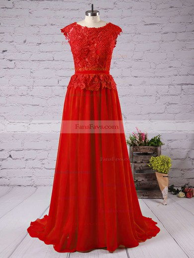A-line Scoop Neck Chiffon Floor-length Appliques Lace Prom Dresses #Favs02016789
