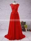 A-line Scoop Neck Chiffon Floor-length Appliques Lace Prom Dresses #Favs02016789