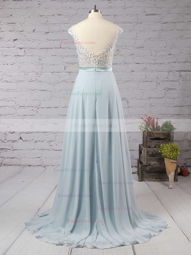 A-line Scoop Neck Floor-length Chiffon Prom Dresses with Appliques Lace Sashes #Favs02018717
