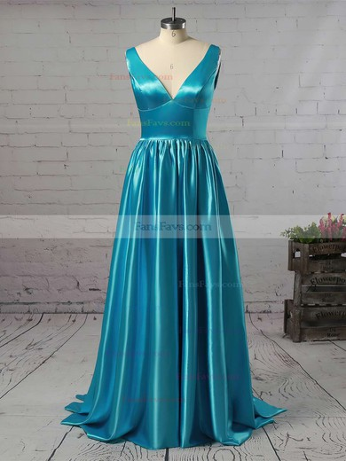Princess V-neck Satin Floor-length Beading Prom Dresses #Favs02018723