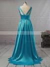 A-line V-neck Floor-length Satin Prom Dresses with Ruffle #Favs02018723