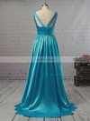 A-line V-neck Floor-length Satin Prom Dresses with Ruffle #Favs02018723
