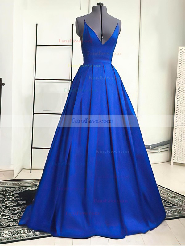 A-line V-neck Satin Sweep Train Prom Dresses #Favs02019053