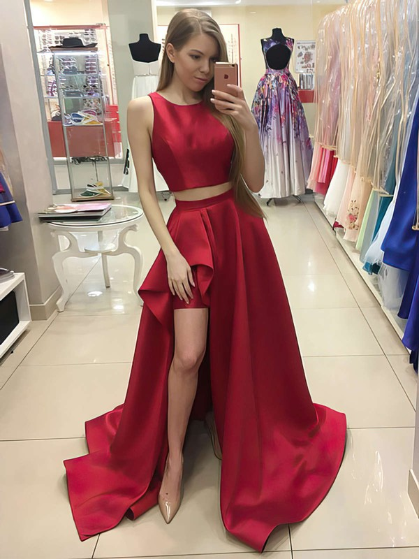 48cf6e54d77 A-line Scoop Neck Sweep Train Satin Prom Dresses with Split Front   Favs020104803